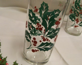 Mid Century Christmas Glasses Holly Design 12 Available