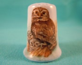 Thimble Bone China with Owls Family