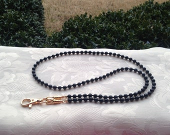 Black ID Lanyard Swarovski Pearl Beaded Lanyard Necklace ID Badge Holder