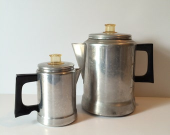 Vintage Mirro Aluminum Percolator Coffee Maker Bakelite Handle 2 Cup or a 9 Cup Coffee Pot Stovetop Coffee Pot 5 Piece Set Dripolator