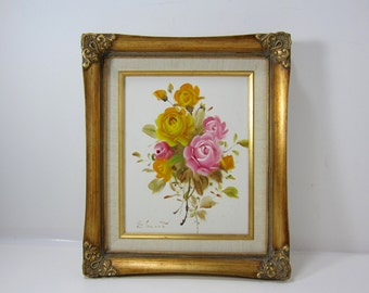 Vintage Original Rose Canvas Painting with Yellow and Pink Roses Signed by Edward in a Gold Gilded Frame