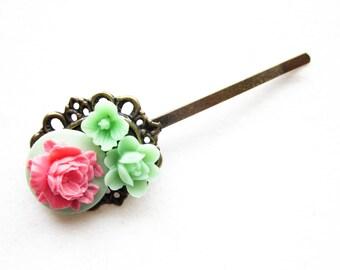Haarklammer,haarspange,hair pin,hair clip, hochzeit,wedding,Blumen,Vintage-Stil,hellgrün
