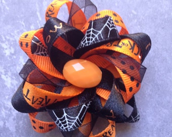 "Traditional 3"" orange and black Halloween bow"