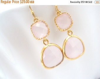 SALE Pink Earrings, Glass Earrings, Gold Earrings, Ice Pink, Light Pink, Wedding, Bridesmaid Earrings, Bridal Earrings Jewelry, Bridesmaid G