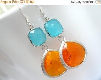 SALE Orange Earrings, Silver Mint Earrings, Tangerine and Mint Earrings, Wedding, Bridesmaid Earrings, Bridal Earrings Jewelry, Bridesmaid G