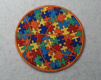 Basketball Autism Awareness Puzzle Piece (large) Tutu & Shirt Supplies - fabric iron on Applique Patch 7960