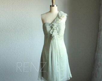 Dusty Mint Bridesmaid Dress, One Shoulder Ruffle Fairy Dress, Dreamy Dress, Wedding Dress, Formal Dress, Prom Dress Knee Length(B003)