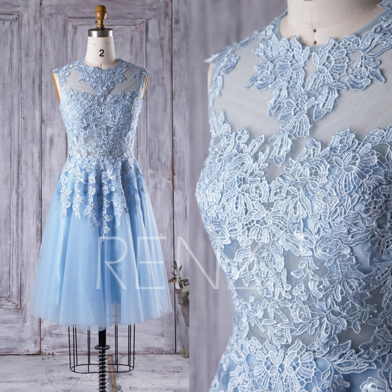 2017 light blue tulle bridesmaid dress lace illusion wedding zoom ombrellifo Gallery