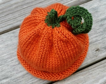Pumpkin Baby Hat - Infant Pumpkin Hat - Hand Knit - Costume Hat - Autumn Fall Hat - Halloween Hat - Thanksgiving Hat - 2 Sizes