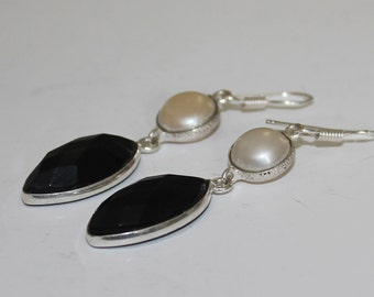 Natural Black Onyx Fresh Water Pearl Silver Plated Dangle Earrings