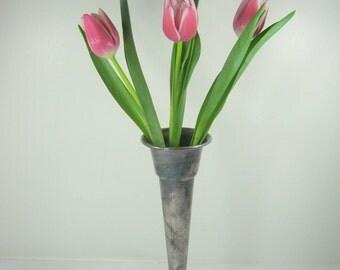 Vintage SILVERPLATE VASE Bud Flower Bouquet Tarnish Patina Floral Gorham