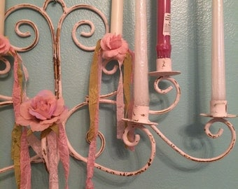 Vintage 8 candle Tole candle wall sconce with pink roses