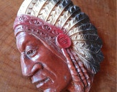 Vintage INDIAN CHIEF, 1950'S Small Plaquard Native American