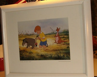 "Christopher Robin Nursery Picture, Wooden White w Glass Cover, 16"" x 13"" Frame."