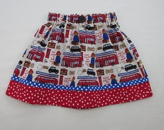 Paddington Bear Skirt - Infant Toddler Girls Skirt - Movie Outfit - Birthday Party - New Paddington Bear Fabric - Red Blue Polka Dot