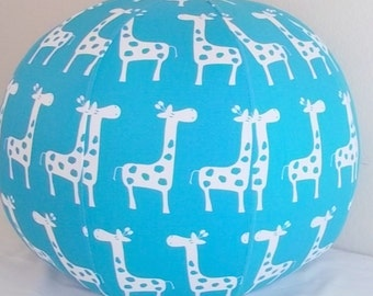 Fun White Giraffe on Turquoise Background,  Pouf/Ottoman