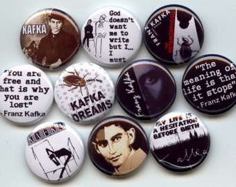 "Franz KAFKA German Author 10 Hand Pressed Pinback 1"" Buttons Badges Pins"