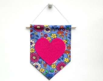 Mini Banner with Floral Print Fabric and Pink Felt Heart
