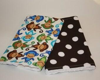 Baby Burp cloths Set of Four - Blue & Brown Monkeys