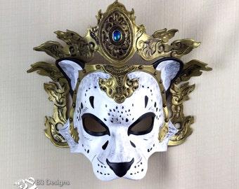 Tibetan Inspired Snow Leopard #3 Leather Mask