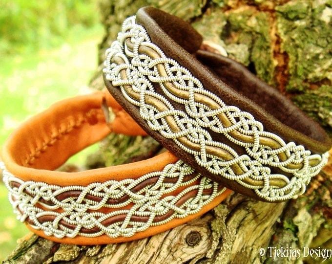 MUNINN Viking Braid Leather Cuff Bracelet in Antique Brown Lapland Reindeer, Bronze Leather cord and Antler button - Handmade Nordic Design