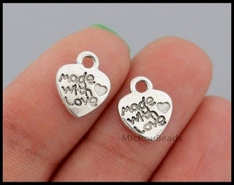 BULK 25 Made with LOVE Heart Tag Charm Pendants - 12mm Small Antiqued Silver Metal Charm - Instant Ship - Usa Craft DIY Findings - 6617