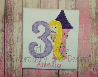 Rapunzel in Tower with Number - Embroidered and Personalized Shirt - Thread colors can be changed