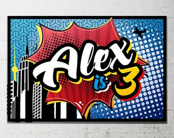 Superhero Birthday Party Backdrop - Printable sign - DIY Print candy buffet sign, dessert table, super hero, heroine, superhero city sign