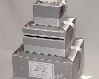 Winter Wonderland/Snowflake theme Card Box-Silver and White-Wedding, Sweet 16,Baby Shower,etc.