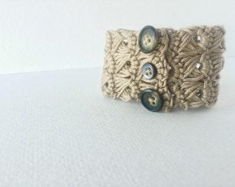 Broomstick Lace Bracelet - Bohemian Cotton Bracelet - Crocheted Lace Bracelet - Handmade Cuff - Unique Friendship Bracelet -  Boho Cuff