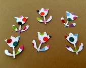 50 TULIP  hand punched die cuts confetti you Choose White with colored spots or 4 color set green pink yellow and purple