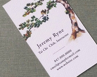 Bonsai, Japanese Pine, Personalized Business Card, Chinoiserie Illustration - Set of 50