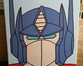 Transformers Optimus Prime Original Acrylic Painting - Hand Painted - HeadShots By Artox - Love With Faith