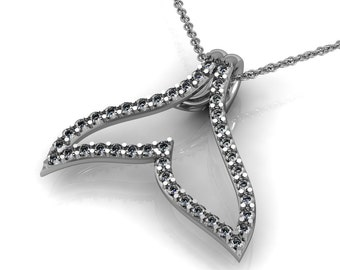 Diamond Whale Tail Necklace in 14k White Yellow Rose Gold | made to order for you within 5-7 business days