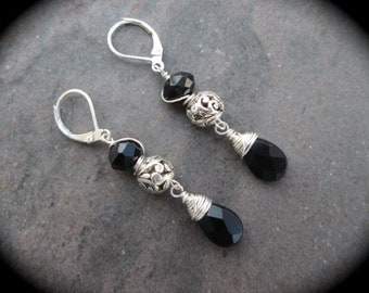 Black and Silver Filigree Leverback earrings with wire wrapped crystals and teardrop briolettes Sterling Silver lever backs Prom jewelry