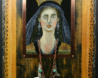 Our Lady of Milagros Retablo Original on Copper and Wood