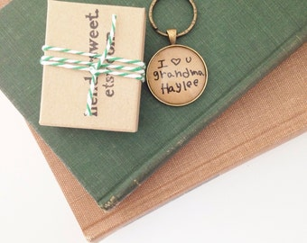 Handwriting Christmas Ornament Handwriting Memory Keychain. Handwriting Jewelry. Hendersweet