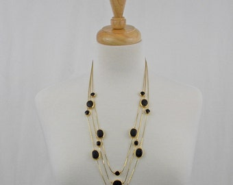 Black and Gold Three-Tier Necklace, Multi Strand, by Avon