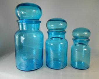 Vintage Apothecary Jars Belgium Jars Teal Bubble Jars Set of 3