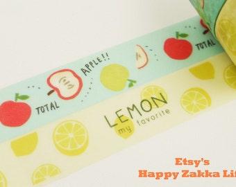 Washi Masking Tape Box Set - My Favorite Fruit Series - Apple & Lemon - 2 rolls - 5.5 Yards (each roll)