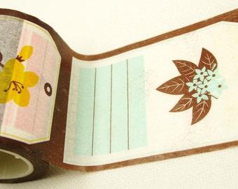 ON SALE - Floral Label - Japanese Washi Masking Tape - 40mm wide - 11 Yards