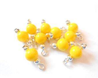 Yellow Opaque Dangle Beads