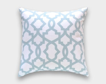 Snowy Blue Sheffield Pillow Cover. Light Blue Lattice Cushion Cover. Blue Pillow.  Lattice Pillow Cover.