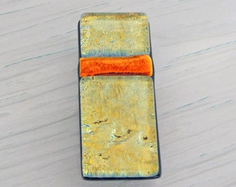 Dichroic Fused Glass Money Clip, Accessories for Him or Her, Gold Dichroic Glass Money Holder, Gifts for Him or Her Under 25 Dollars