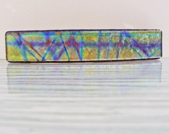 Large Dichroic Fused Glass Barrette Colorful Hair Barrette Hair Clip Dichroic Glass Barrette Jewelry Gifts for Women Under 30 Dollars