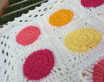 Baby Blanket Washable Summer Color Pops Yellow Magenta Orange Afghan  Circle in A Square Granny
