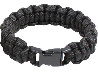 Paracord Survival Bracelets 8inch - Black & Olive Drab Green