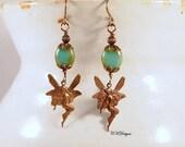 SALE Whimsical Fairy Earrings,  Whimsical Jewelry, Czech Beaded Pierced or Clip-on Earrings. OOAK Handmade Earrings, Fairy jewelry,