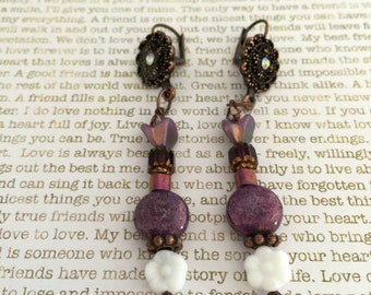 Flower Earrings - Limited Edition - Made With Czech Beads In Purple and White Great For Gardening Lovers Tulips and Daisies