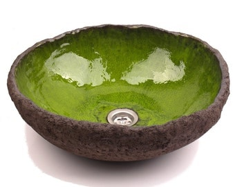 Green lagoon sink, handmade washbasin, ceramic sink, green sink